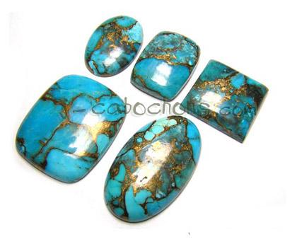 Copper Turquoise Gemstone Cabochon-Copper Turquoise Cabochon-Copper Turquoise Smooth Fancy Shape Cabochon-24x12x5 MM-Wholesalegems-BS10855